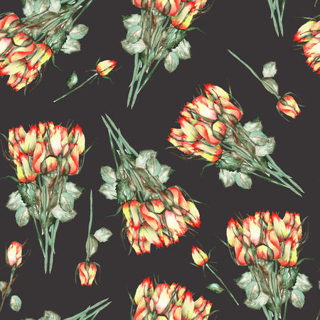 incarnadine: A seamless pattern with the watercolor beautiful bouquets of the red and yellow roses painted on a black background