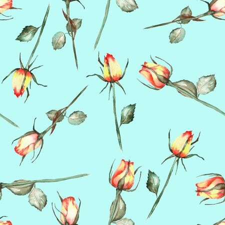 incarnadine: A seamless pattern with the watercolor beautiful red and yellow roses painted on a mint background Stock Photo