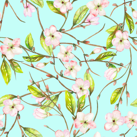 A seamless floral pattern with an ornament of an apple tree branch with the tender pink blooming flowers and green leaves, painted in a watercolor on a mint background Banco de Imagens