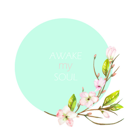 A decorative place banner with an ornament of an apple tree branch with the tender pink blooming flowers for a text on a mint background, a greeting card, a decoration postcard or invitation, with an inscription Awake my soul