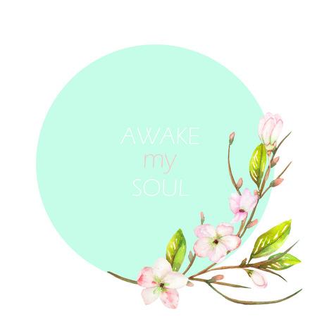 """Un lugar bandera decorativa con un adorno de una rama de un árbol de manzana con la tierna rosa que florece las flores de un texto sobre un fondo de menta, una tarjeta de felicitación, una postal de la decoración o la invitación, con una inscripción """"despertar mi alma"""""""