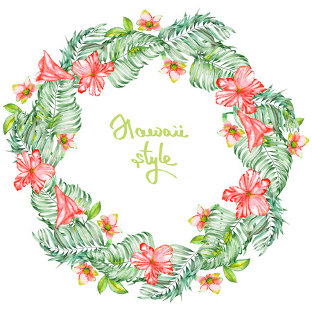 flower print: A wreath frame of the watercolor red exotic flowers, hibiscus and the leaves of the palms, a place for a text, painted on a white background