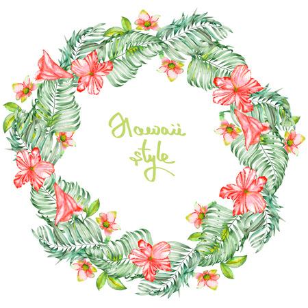 patrones de flores: Un marco de la guirnalda del rojo de la acuarela flores exóticas, el hibisco y las hojas de las palmeras, un lugar para un texto, pintado sobre un fondo blanco
