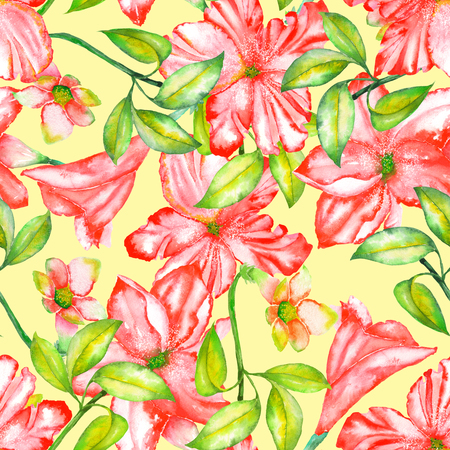 incarnadine: A seamless pattern with the watercolor red exotic flowers, hibiscus on a yellow background Stock Photo