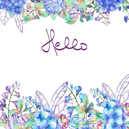花のフレーム枠、紫のはがき用テンプレートや青アジサイの花、ブルーベル、白の背景、グリーティング カード、装飾はがきや招待状に水彩で描か