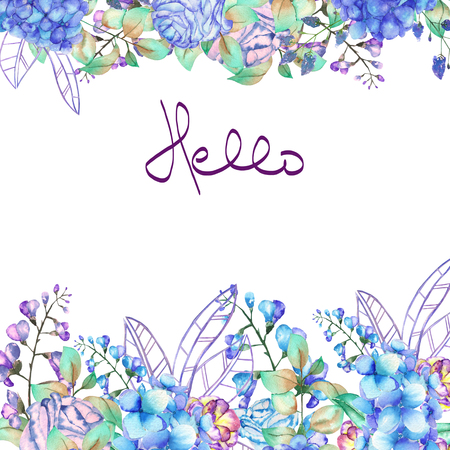 fleurs des champs: bordure de cadre floral, modèle pour carte postale avec des fleurs pourpres et bleu hortensia, jacinthe et branches peintes à l'aquarelle sur un fond blanc, carte de voeux, carte postale décoration ou invitation Banque d'images