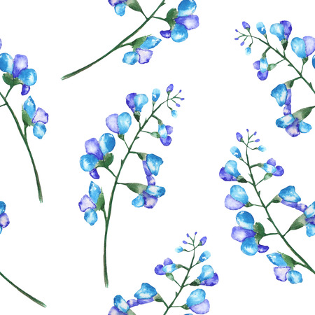 florescence: Seamless floral pattern with the branches of blue flowers bluebell, painted in a watercolor on a white background Stock Photo