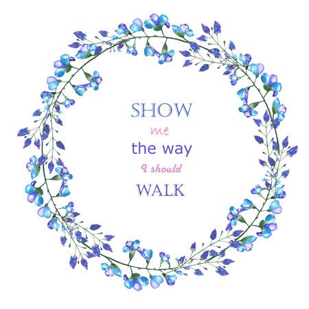 青色の花と白の背景、グリーティング カード、装飾はがきや招待状に水彩で描かれた、ブルーベルのサークル フレーム境界線花輪