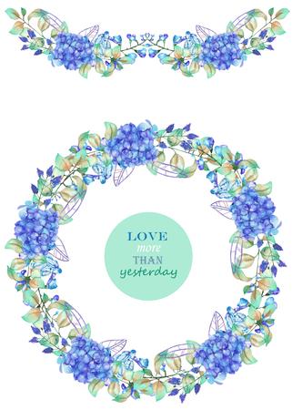 フレームの枠線、ガーランド、青いアジサイの花と白い背景、グリーティング カード、装飾はがきまたは招待状に水彩で描かれた、緑の葉の花輪