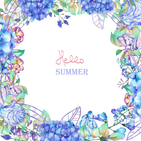 florescence: A floral frame of the watercolor blue flowers, Hydrangea and Roses, a place for a text, painted on a white background