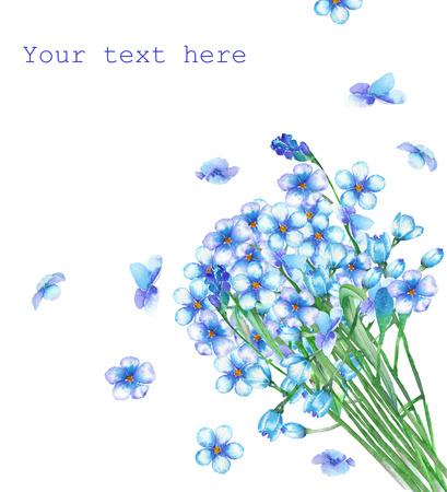 forget me not: A template of postcard with a bouquet of the beautiful watercolor blue forget-me-not flowers Myosotis for a greeting card, decoration postcard or invitation
