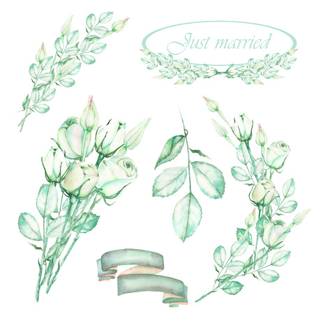 A set with an isolated frame borders, floral decorative ornaments and elements with the watercolor tender green roses, painted on a white background for a wedding or other decoration