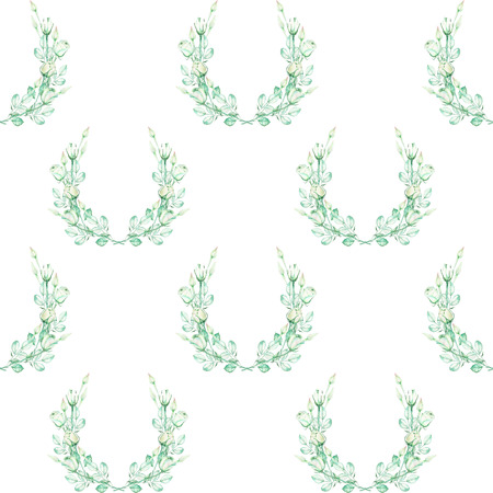 tender: A seamless floral pattern with the wreaths of the tender green roses, painted in a watercolor on a white background