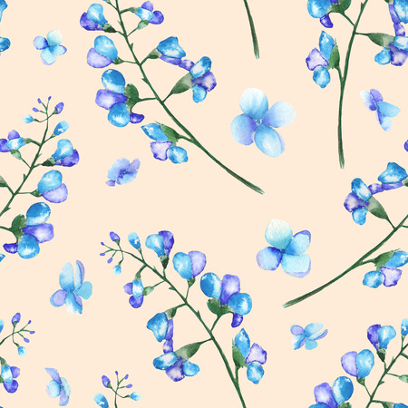 bluebell: Seamless floral pattern with the branches of blue flowers bluebell, painted in a watercolor on a pink background Stock Photo
