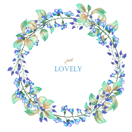 A floral circle frame wreath of the watercolor blue flowers and green leaves, a place for a text, painted on a white background