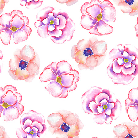 incarnadine: A seamless floral pattern with the watercolor tender pink spring flowers painted on a white background