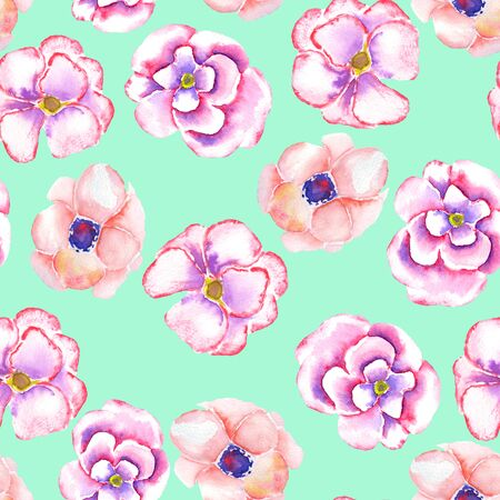 incarnadine: A seamless floral pattern with the watercolor tender pink spring flowers painted on a mint background Stock Photo