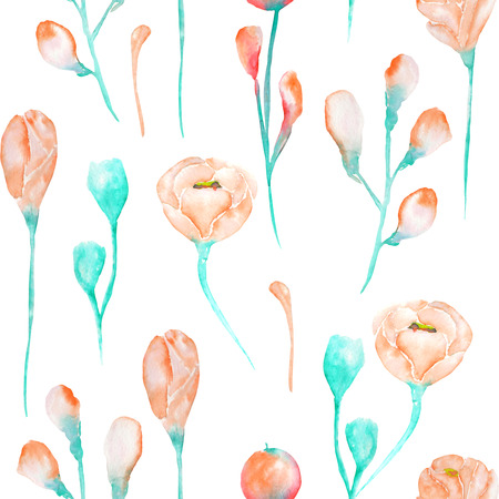 incarnadine: A seamless floral pattern with the watercolor beautiful tender and turquoise pink spring flowers on a white background