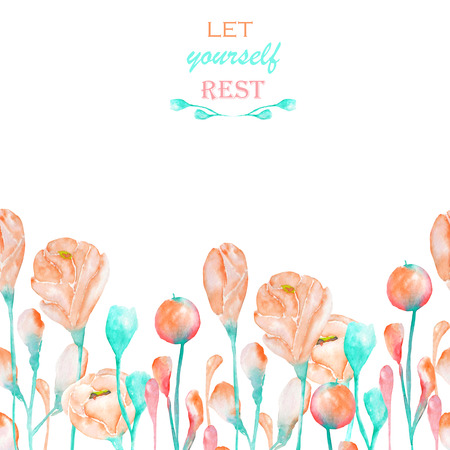 florescence: A decorative place banner with an ornament of the watercolor spring pink and turquoise flowers for a text on a white background, a greeting card, a decoration postcard or wedding invitation
