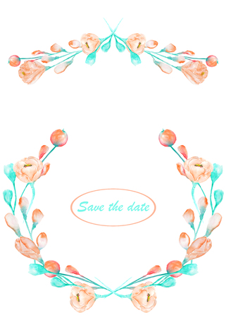 florescence: Frame border, garland and wreath of the tender pink and turquoise spring flowers painted in a watercolor on a white background, greeting card, decoration postcard or wedding invitation Stock Photo