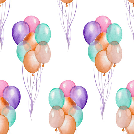 white party: A seamless party pattern with the watercolor hand drawn air balloons. Painted on a white background. Stock Photo