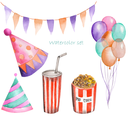 Watercolor party and circus set in the form of garland of the flags, pop corn, air balloons and party hats. Painted on a white background.