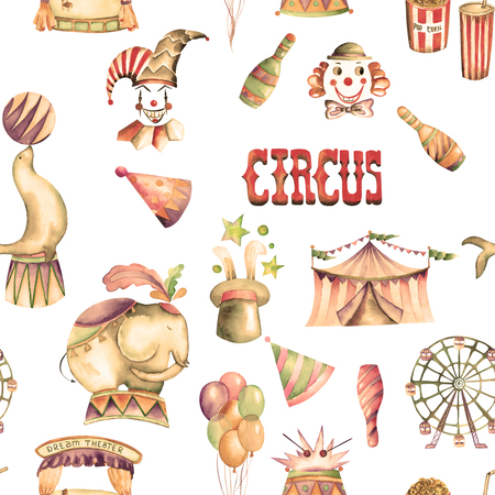 pop corn: A seamless pattern with the watercolor retro hand drawn circus elements: air balloons, pop corn, circus tent marquee, ice cream, circus animals, clowns, Ferris wheel. Painted on a white background Stock Photo