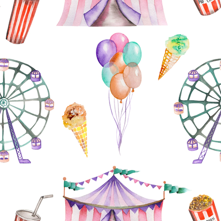 A seamless pattern with the watercolor circus hand drawn elements: air balloons, pop corn, circus tent marquee, ice cream and Ferris wheel. Painted on a white background. Banco de Imagens