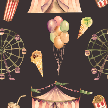 pennon: A seamless pattern with the watercolor circus hand drawn elements: air balloons, pop corn, circus tent marquee, ice cream and Ferris wheel. Painted on a dark background.
