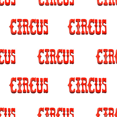 marquees: A seamless pattern with the watercolor red retro word Circus painted on a white background