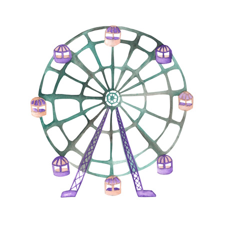 An illustration of a Ferris wheel painted in watercolor on a white background. Isolated circus, festival and amusement park element.