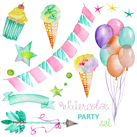 Watercolor party set in the form of isolated elements: garland of the flags, ice-cream, air balloons, arrow, ribbon and stars. Painted on a white background. Stock Photo