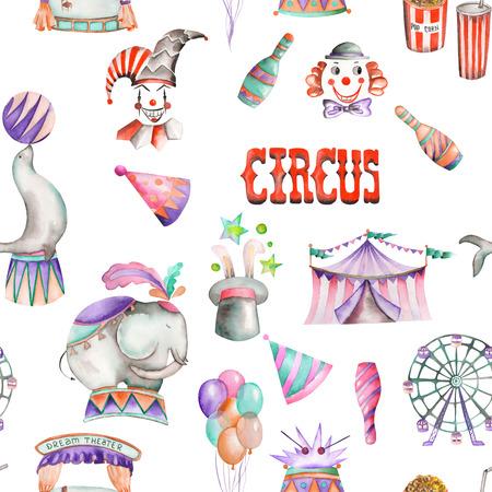 Un modello senza soluzione di continuità con le acquerello retrò disegnati a mano elementi circensi: mongolfiere, pop corn, tenda da circo tendone, gelati, animali da circo, clown, ruota panoramica. Dipinta su uno sfondo bianco