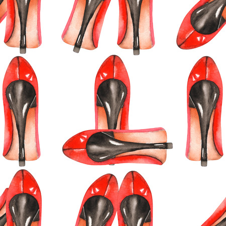 red shoes: A seamless pattern with the womens watercolor hand-drawn red shoes on the heels. Painted on a white background.