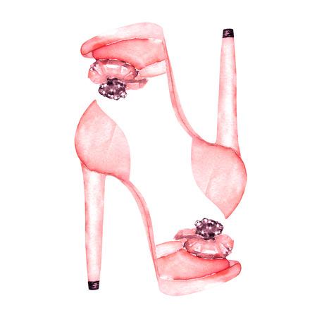 aislado Ilustración de los zapatos de las mujeres de color rosa en los zapatos de tacón alto. Pintado a mano dibujado en una acuarela sobre un fondo blanco.