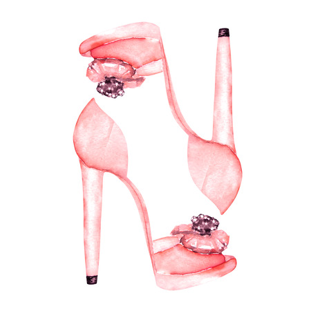 Illustration isolated pink womens shoes on the high heels. Painted hand-drawn in a watercolor on a white background. Banco de Imagens