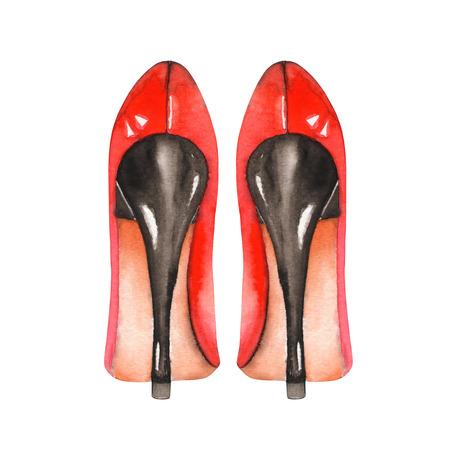 Иллюстрация изолированных красный женской обуви на высоких каблуках. Окрашенный ручной тяге в акварели на белом фоне.