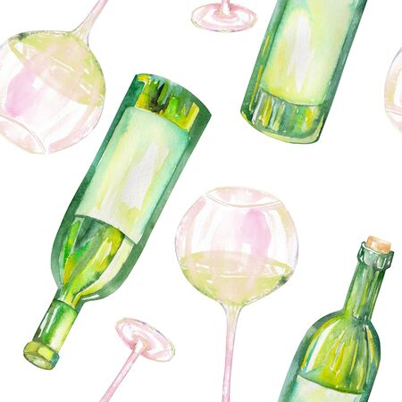 A seamless pattern with the hand-drawn glasses of white wine and wine bottles. Painted in a watercolor on a white background.