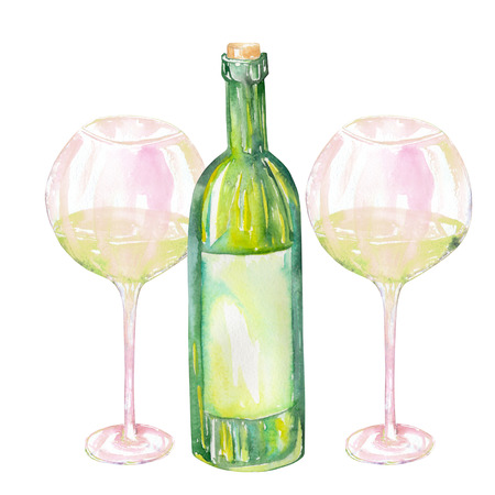 gargle: Image of the isolated watercolor glasses of white wine and wine champagne bottle. Painted hand-drawn in a watercolor on a white background. Stock Photo