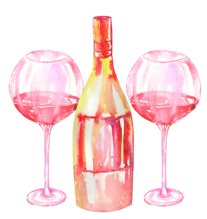 gargle: Image of the isolated watercolor glasses of red wine and wine champagne bottle. Painted hand-drawn in a watercolor on a white background.