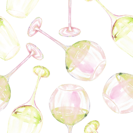 gargle: A seamless pattern with the hand-drawn glasses of white wine. Painted in a watercolor on a white background. Stock Photo