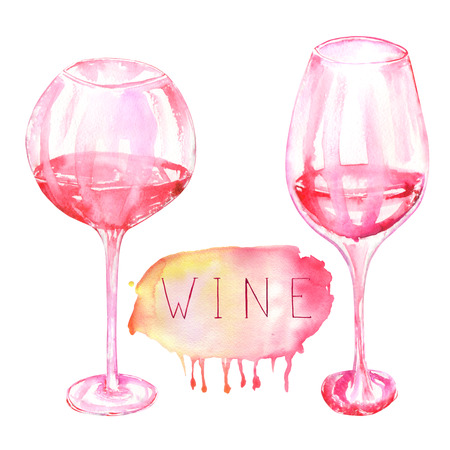 gargle: An illustration of the isolated watercolor glasses of red wine. Painted hand-drawn in a watercolor on a white background.