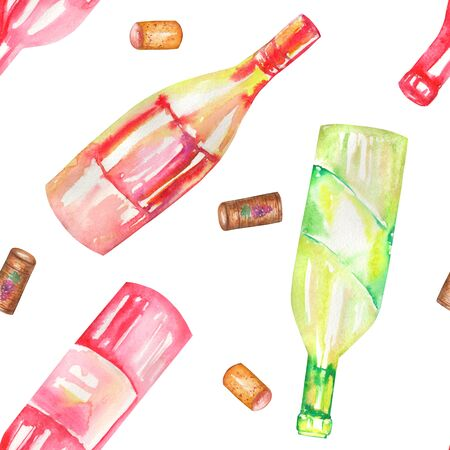 gargle: A seamless pattern with the hand-drawn wine champagne bottles and the wine corks. Painted in a watercolor on a white background.