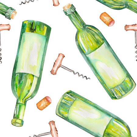 gargle: A seamless pattern with the wine watercolor hand-drawn elements: wine bottles, wine corks and a corkscrew. Painted on a white background.