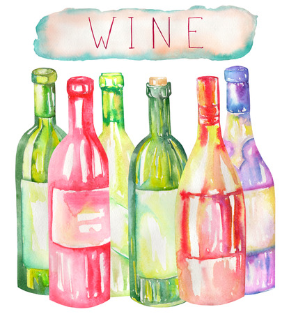 gargle: An illustration of the isolated watercolor wine bottles. Painted hand-drawn in a watercolor on a white background. Stock Photo