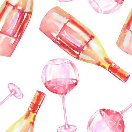 Un patrón sin fisuras con las gafas hechas a mano de vino tinto y botellas de champán vino. Pintado en una acuarela sobre un fondo blanco.