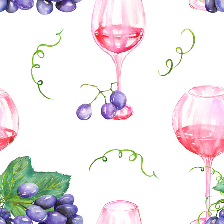 gargle: A seamless pattern with the hand-drawn glasses of red wine and violet grape. Painted in a watercolor on a white background. Stock Photo