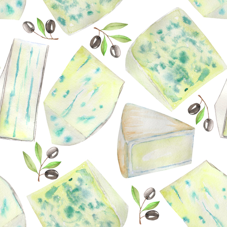 france painted: A seamless pattern with the hand-drawn blue cheeses and black olives. Painted in a watercolor on a white background.