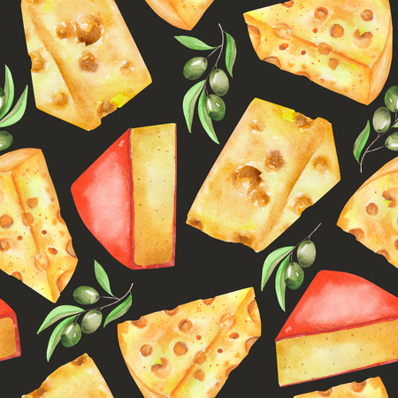 chunk: A seamless pattern with the hand-drawn hard Dutch cheeses and olives. Painted in a watercolor on a dark black background.