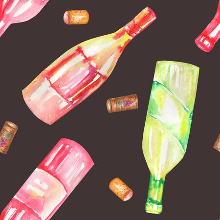 gargle: A seamless pattern with the hand-drawn wine champagne bottles and wine corcks. Painted in a watercolor on a dark black background. Stock Photo